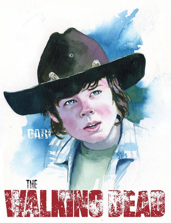 Walking Dead Poster featuring the painting Walking Dead Carl by Ken Meyer jr