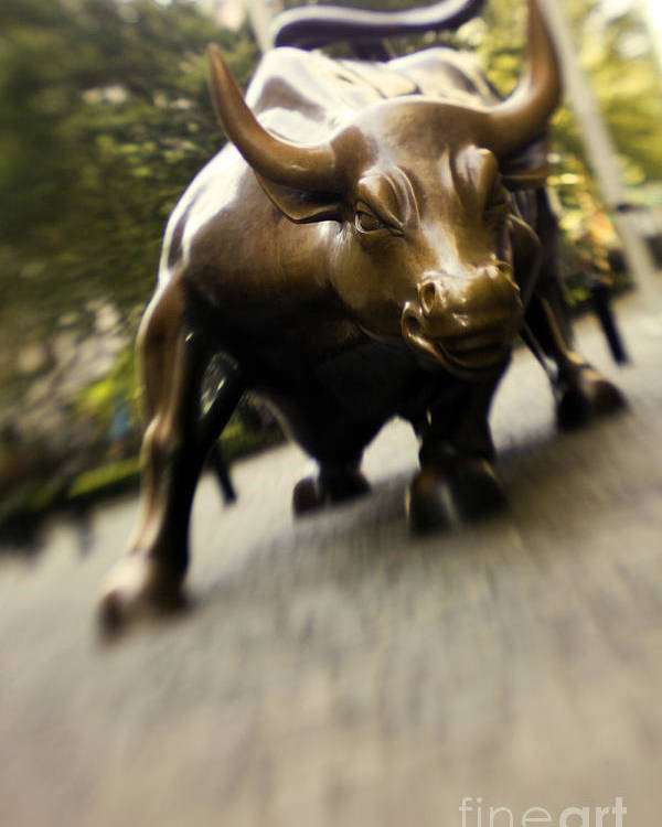 Wall Poster featuring the photograph Wall Street Bull by Tony Cordoza