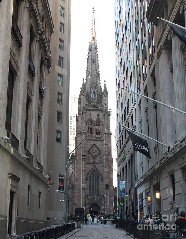Wall Street Leading To Trinity Church Poster featuring the photograph Wall Street Leading To Trinity Church by John Telfer