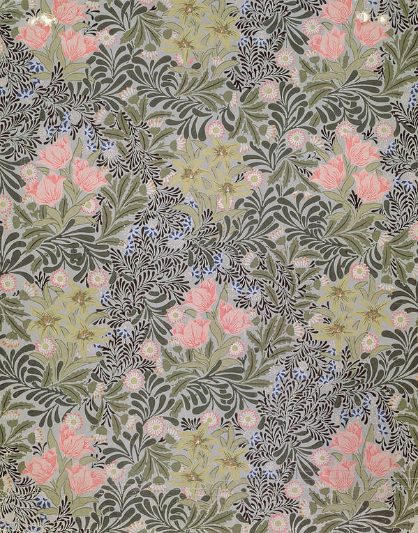 Tulip Poster featuring the tapestry - textile Wallpaper Design With Tulips Daisies And Honeysuckle by William Morris