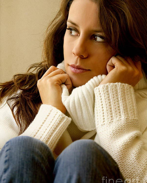Woman; Lady; Female; Caucasian; Casual; Comfort; Comfortable; Lazy; Sweater; Warm; Warmth; Jeans; Sitting; Lounge; Lounging; Living Room; Indoors; Inside; Brunette; Alone; In Thought; Long Hair; Turtleneck Poster featuring the photograph Warmth by Margie Hurwich