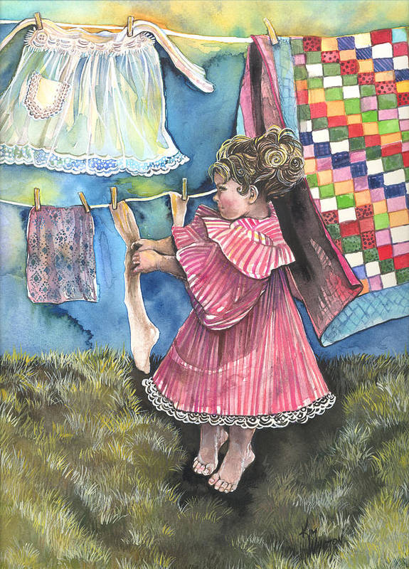 Girl Poster featuring the painting Wash Day by Kim Sutherland Whitton