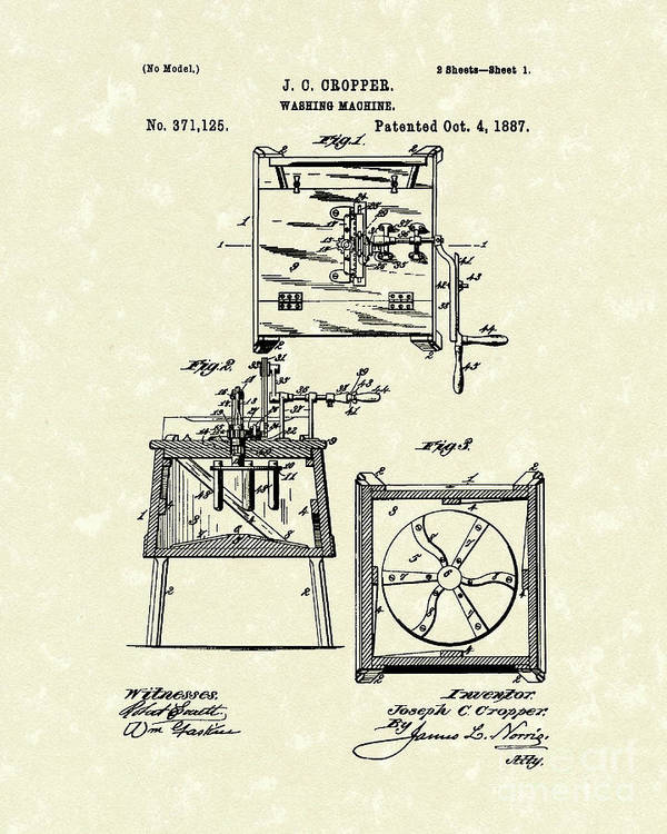 Cropper Poster featuring the drawing Washing Machine 1887 Patent Art by Prior Art Design