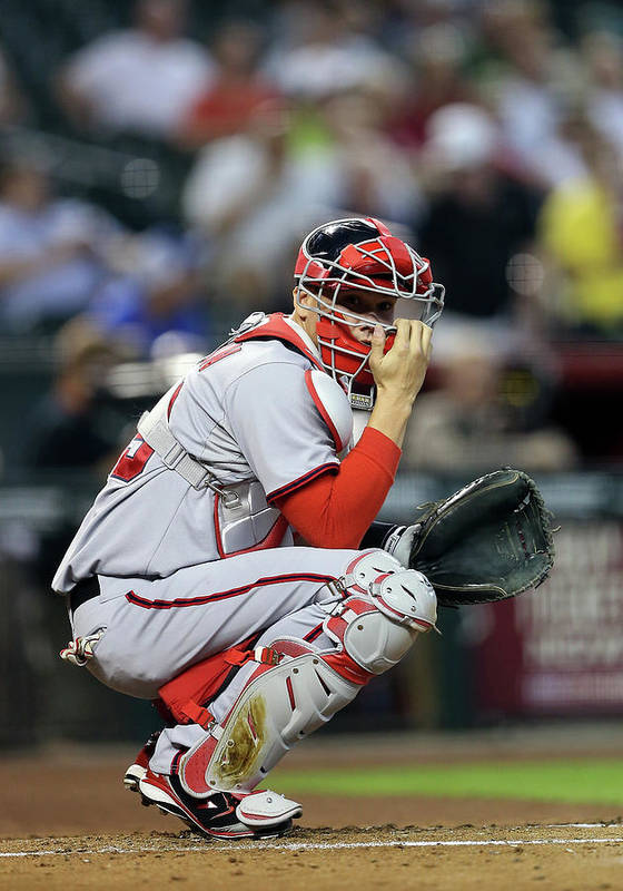 Baseball Catcher Poster featuring the photograph Washington Nationals V Arizona by Christian Petersen