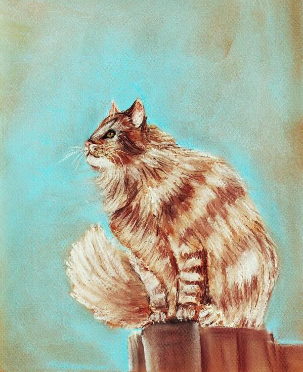 Malakhova Poster featuring the painting Watch Cat by Anastasiya Malakhova