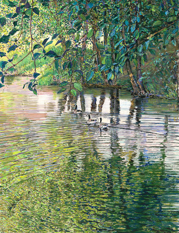 Birdseye Art Studio Poster featuring the painting Water And Woodland by Nick Payne