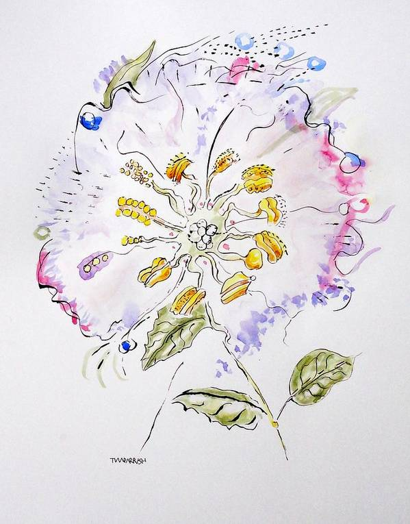 Botanical Poster featuring the painting Water Color And Ink Flower by Tim Parrish