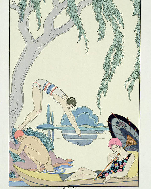 Bathing Poster featuring the painting Water by Georges Barbier