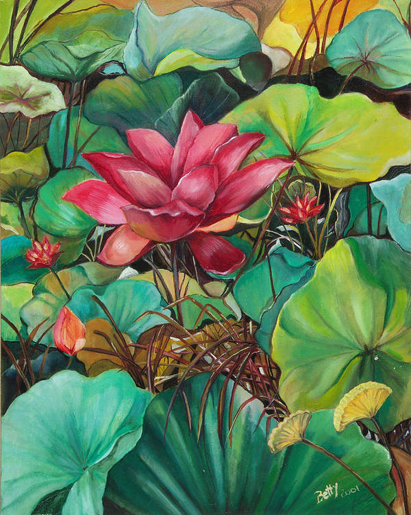 Betty Glanville Poster featuring the painting Water Lilies by Betty Glanville