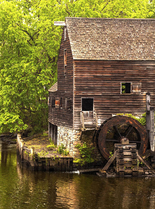 Philipsburg Manor House: Water Wheel At Philipsburg Manor Mill House Poster By