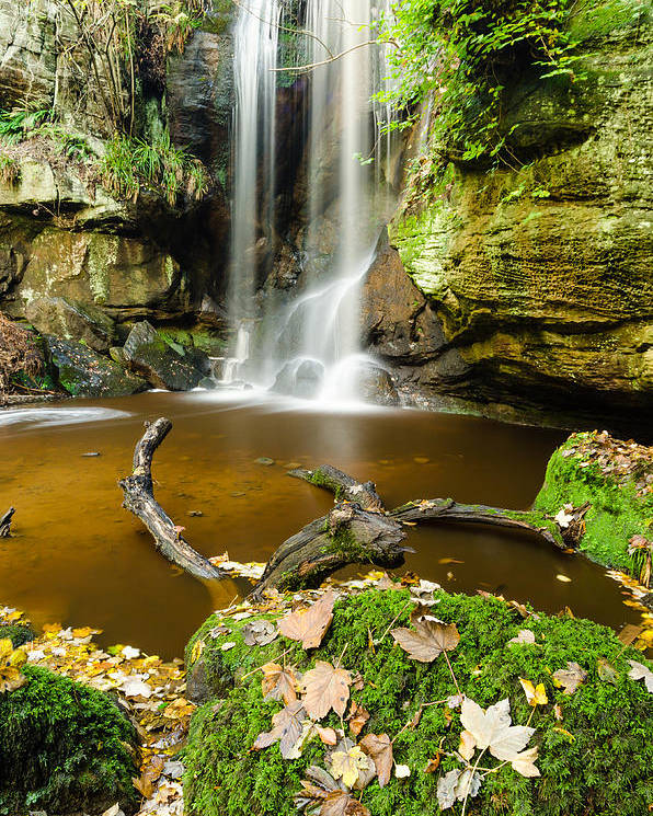 Northumberland Poster featuring the photograph Waterfall With Autumn Leaves by David Head