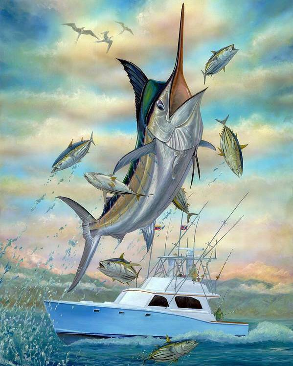 Blue Marlin Poster featuring the painting Waterman by Terry Fox