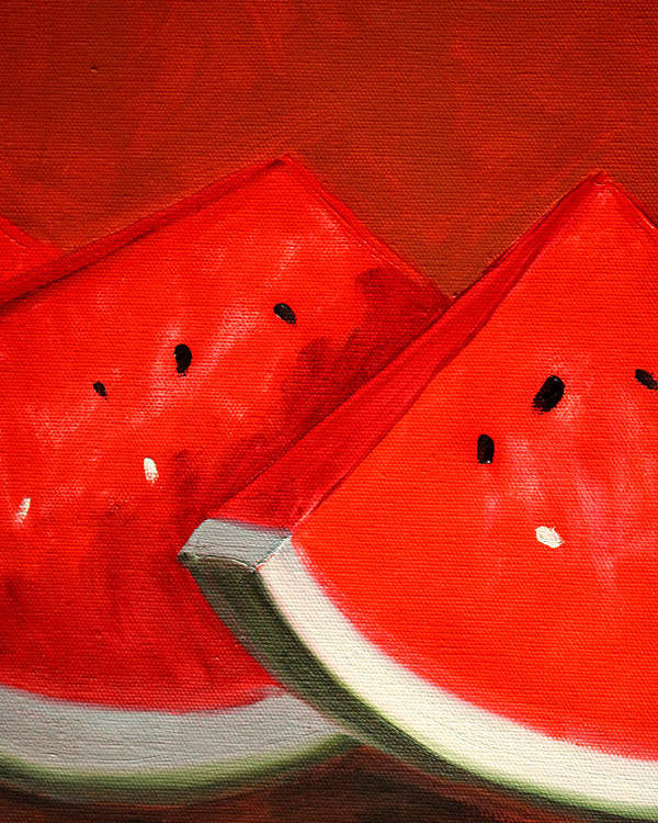 Watermelon Poster featuring the painting Watermelon by Nancy Merkle