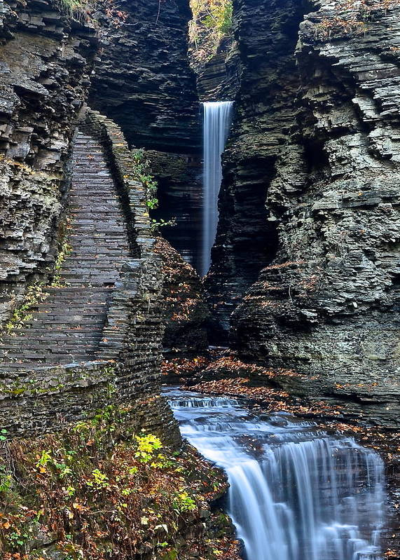 Watkins Poster featuring the photograph Watkins Glen Central Cascade by Frozen in Time Fine Art Photography