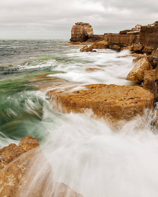 Pulpit Poster featuring the photograph Waves Crashing Over Portland Bill by Ian Middleton