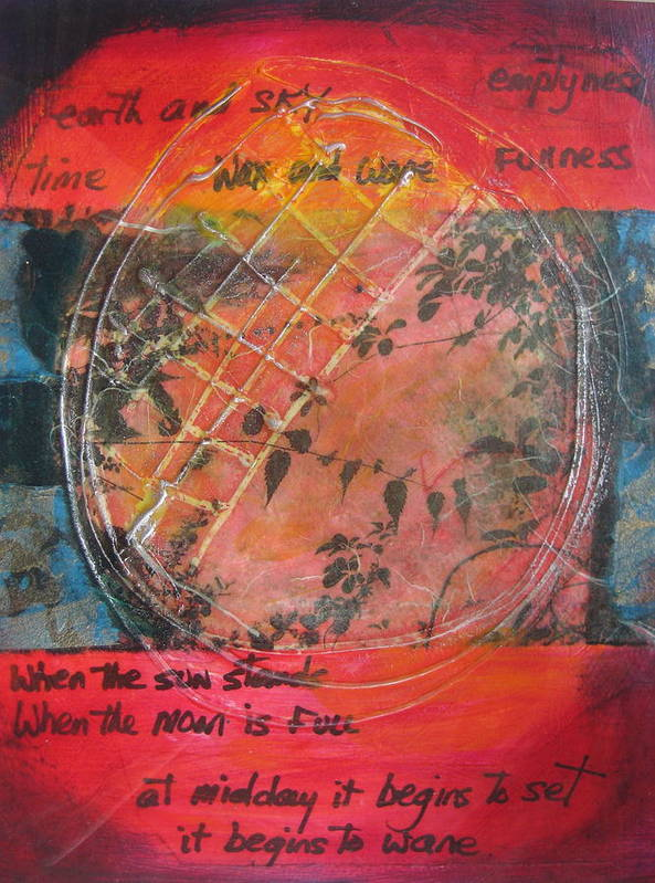 Moon Poster featuring the mixed media Wax And Wane by Karen Severson