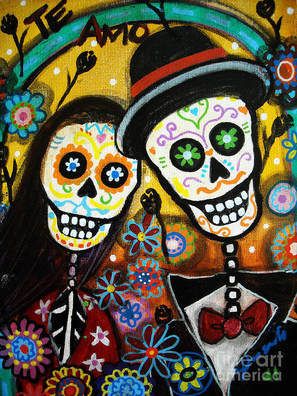 Dia Poster featuring the painting Wedding Dia De Los Muertos by Pristine Cartera Turkus