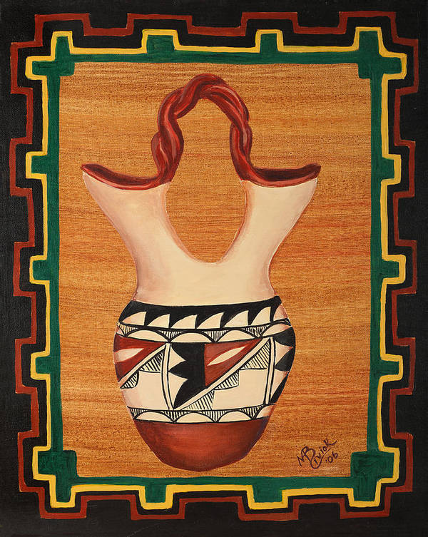 Pottery Poster featuring the painting Wedding Vase by Mary Anne Civiok