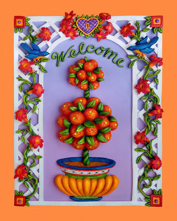 Garden Scene Poster featuring the mixed media Welcome by Amy Vangsgard