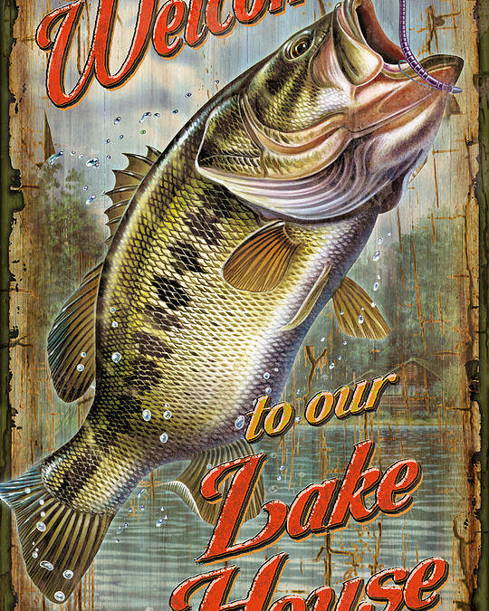 Fish Poster featuring the painting Welcome Bass by JQ Licensing