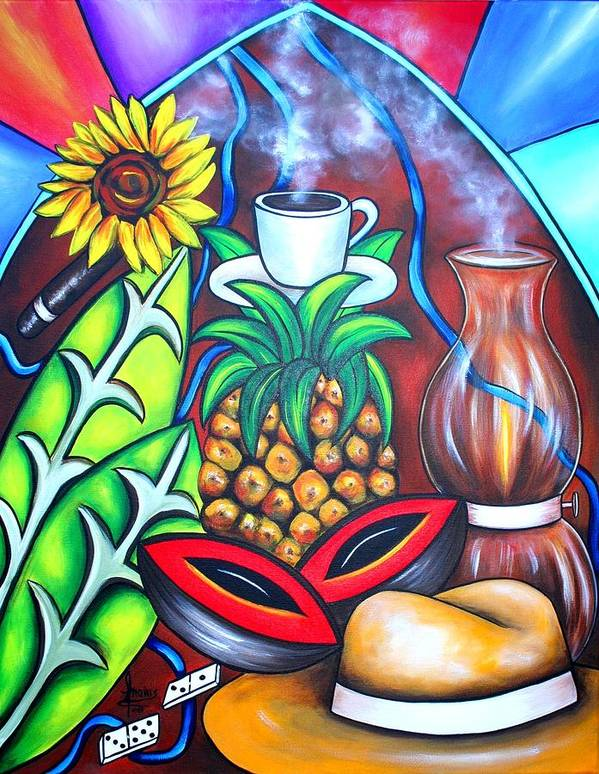Cuban Paintings Poster featuring the painting Welcome To Here And Now by Annie Maxwell