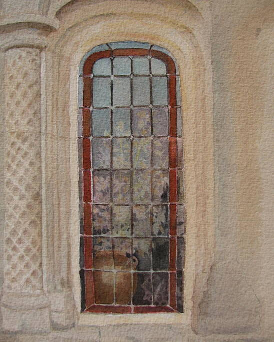 Window Poster featuring the painting What Is Behind The Window Pane by Mary Ellen Mueller Legault