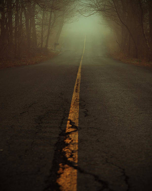 Fog Poster featuring the photograph What Lies Ahead by Karol Livote