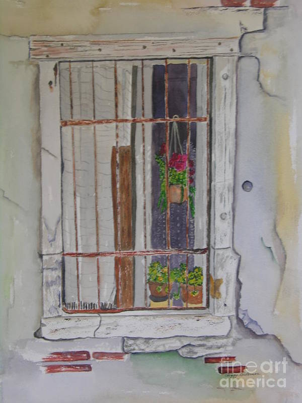 Tuscany Poster featuring the painting What's Behind The Window by Peggy Dickerson