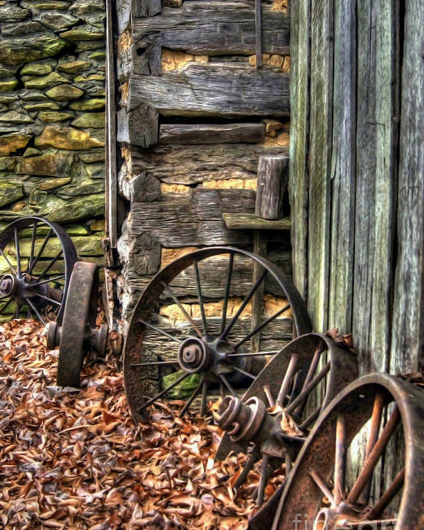 Wagon Wheel Poster featuring the photograph Wheels Of Time by Benanne Stiens