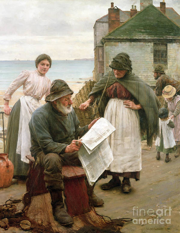 Sea Dog Poster featuring the painting When The Boats Are Away by Walter Langley