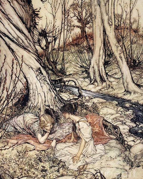 Primroses; Primrose; Friends; Friend; Female; Character; Characters; Helena; Hermia; Woods; Forest; Stream; Shakespeare Poster featuring the drawing Where Often You And I Upon Fain Primrose Beds Were Wont To Lie by Arthur Rackham