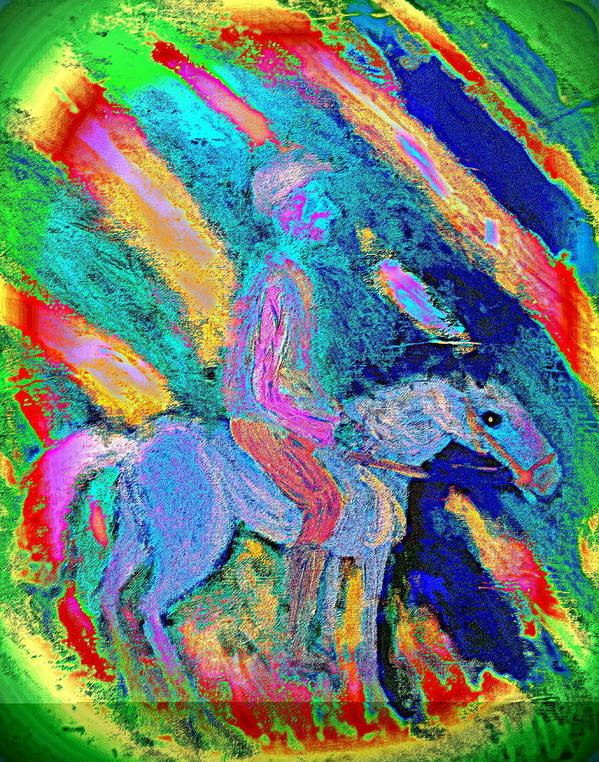 Rider Poster featuring the painting Where To Go I Don't Know I Just Ride Out In The Snow by Hilde Widerberg