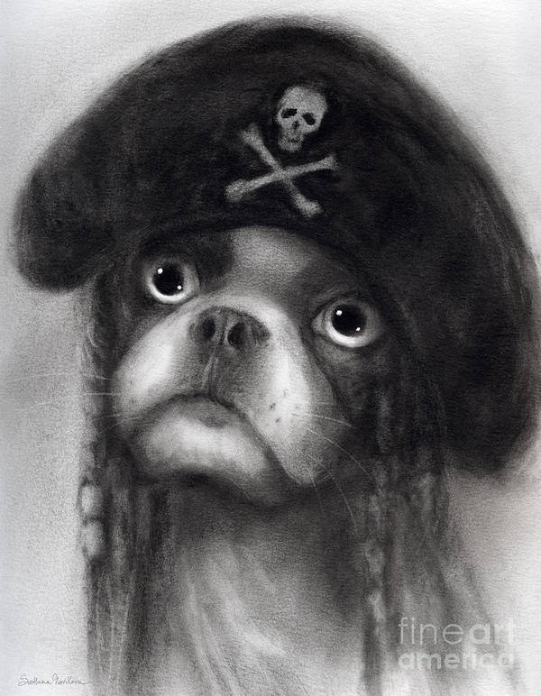 Funny Dog Portrait Poster featuring the painting Whimsical Funny French Bulldog Pirate by Svetlana Novikova