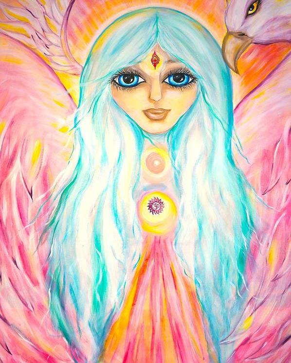 Spiritual Poster featuring the painting White Angel by Marley Art