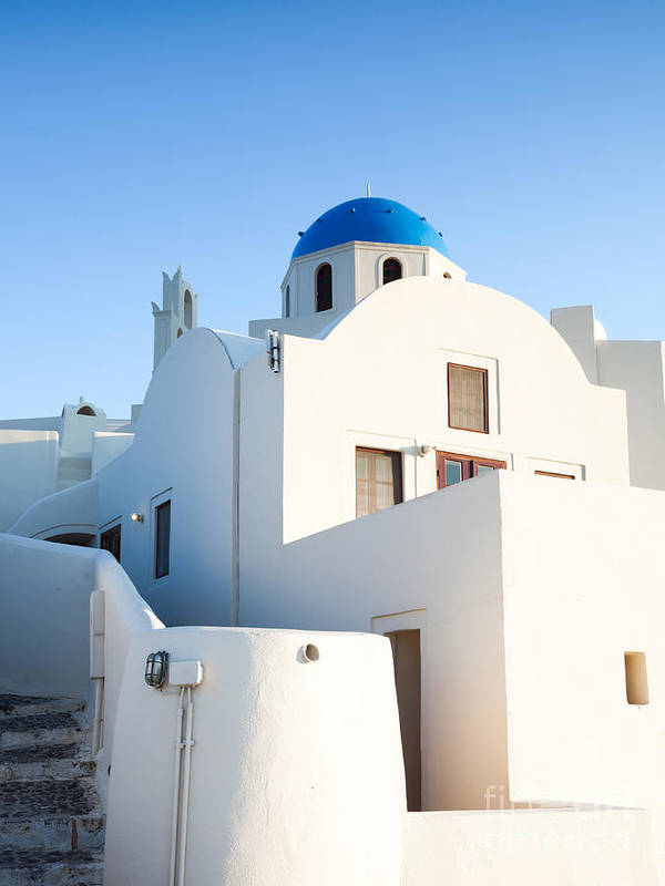 Architecture Poster featuring the photograph White Buildings And Blue Church In Oia Santorini Greece by Matteo Colombo