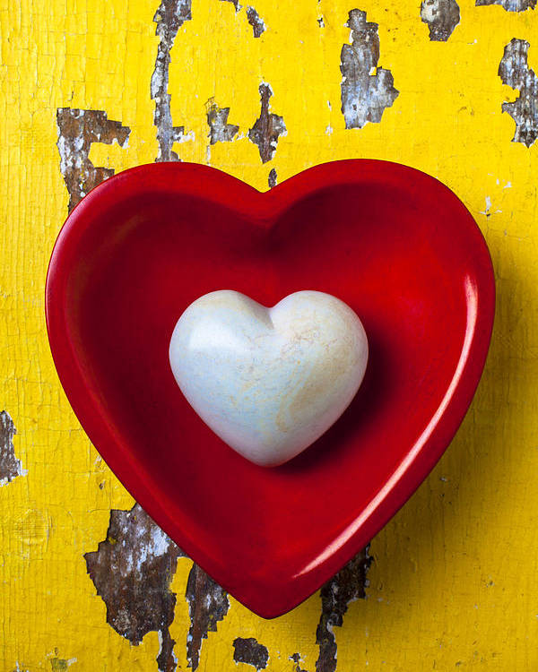 White Heart Red Hearts Poster featuring the photograph White Heart Red Heart by Garry Gay