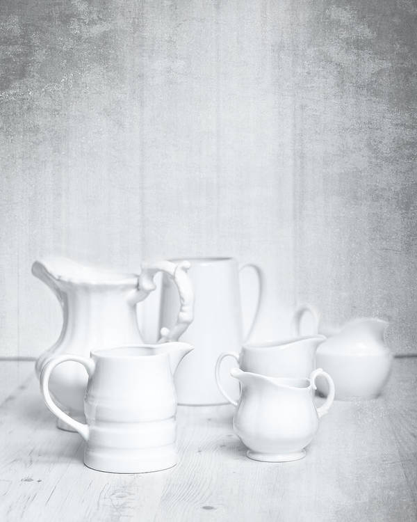 White Poster featuring the photograph White Jugs by Amanda Elwell