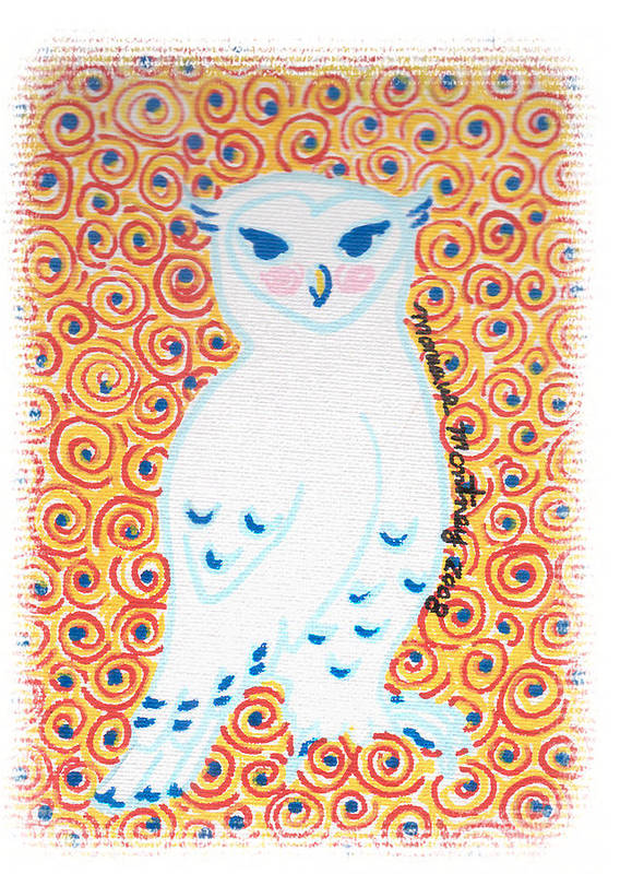 Owl Poster featuring the painting White Owl by Monique Montney