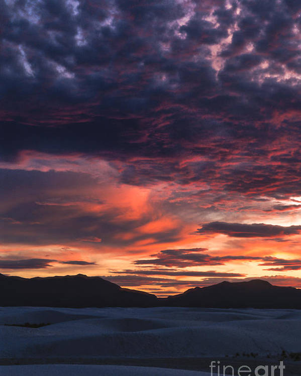 White Sands Poster featuring the photograph White Sands Sunset by Sandra Bronstein
