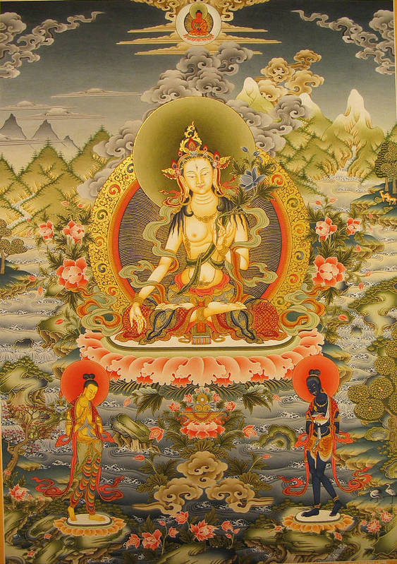 Thangka Poster featuring the painting White Tara by Art School