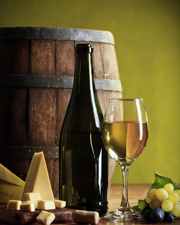 Cheese Poster featuring the photograph White Wine Composition by Valentinrussanov
