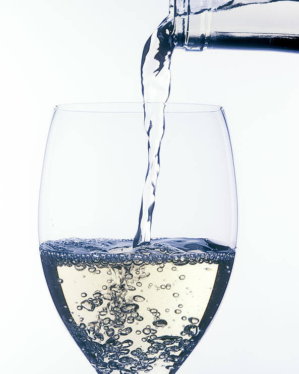 White Poster featuring the photograph White Wine Pouring by Garry Gay