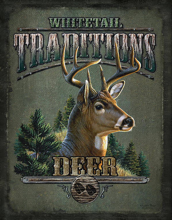 Cynthie Fisher Poster featuring the painting Whitetail Deer Traditions by JQ Licensing