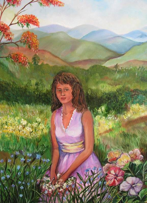 Betty Glanville Poster featuring the painting Who Is She by Betty Glanville