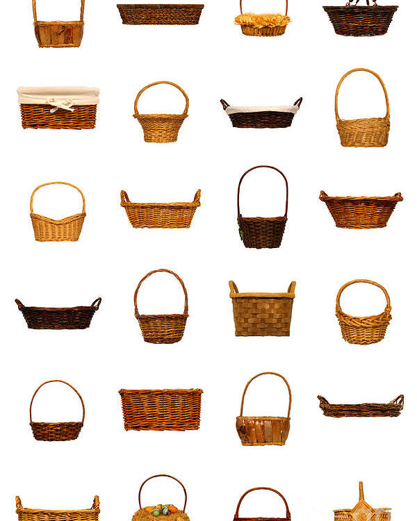 Basket Poster featuring the photograph Wicker Basket Collection by Olivier Le Queinec
