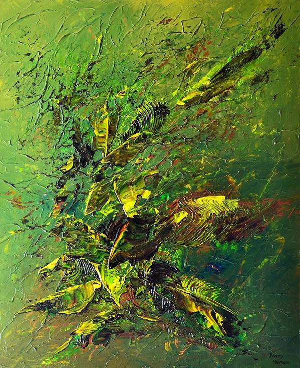 Abstract Poster featuring the painting Wild Green by Thierry Vobmann