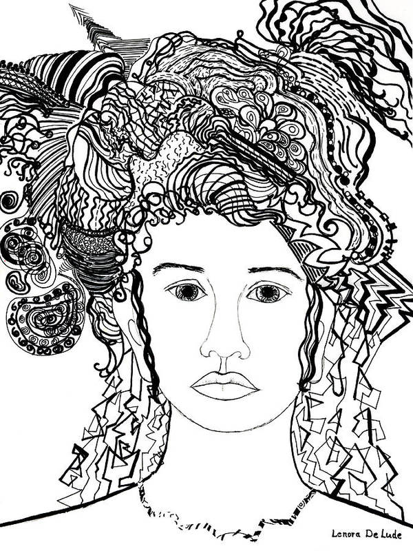 Drawing Poster featuring the drawing Wild Hair Portrait In Shapes And Lines by Lenora De Lude