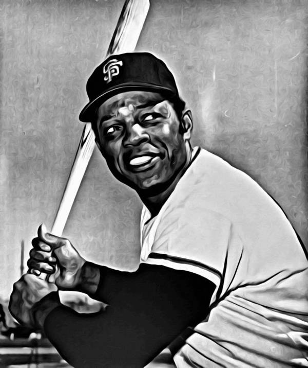 Mlb Poster featuring the painting Willie Mays Painting by Florian Rodarte