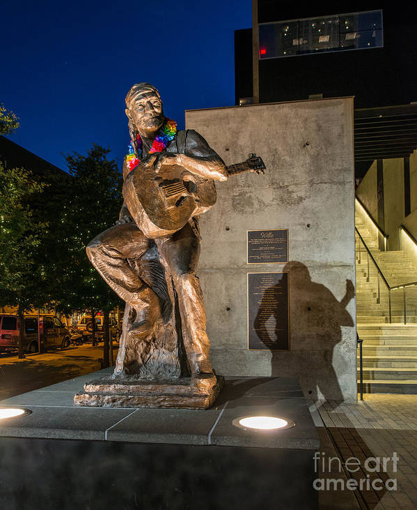 Austin Willie Nelson Poster featuring the photograph Austin Willie Nelson Statue by Tod and Cynthia Grubbs
