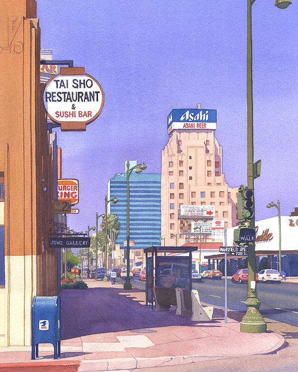 Los Angeles Poster featuring the painting Wilshire Blvd At Mansfield by Mary Helmreich
